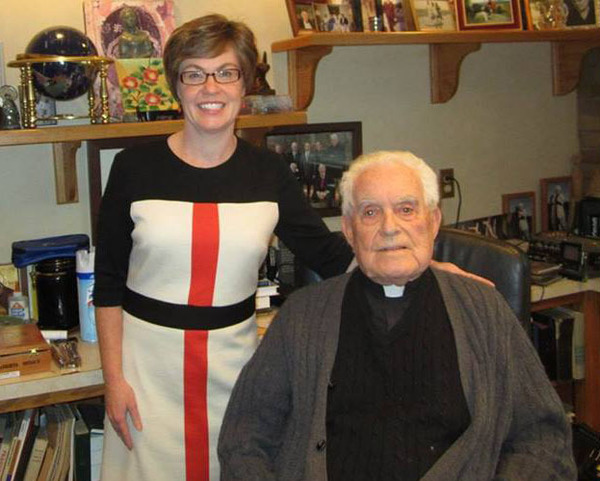Kathleen Cummings & Father Ted Hesburgh