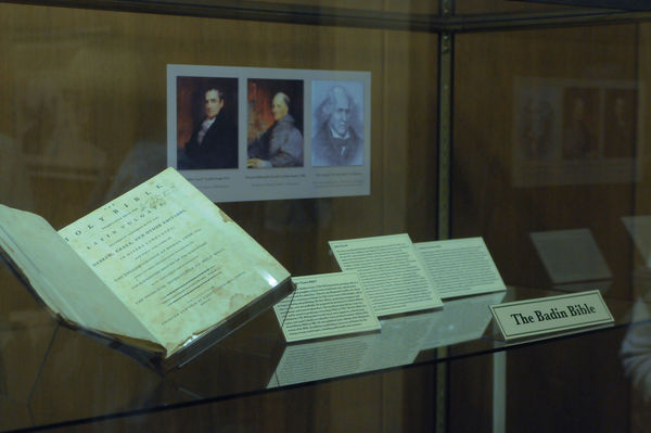 Badin Bible display at Hesburgh Library