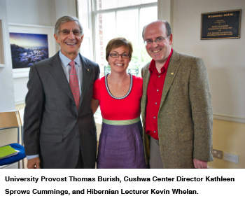 University Provost Thomas Burish, Cushwa Center Director Kathleen Sprows Cummings, and Hibernian Lecturer Kevin Whelan